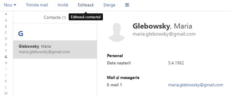 Carnet de adrese - editarea unui nou contact