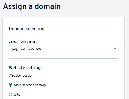 Selectați domeniul, pe care doriți să îl atribuiți acestui server