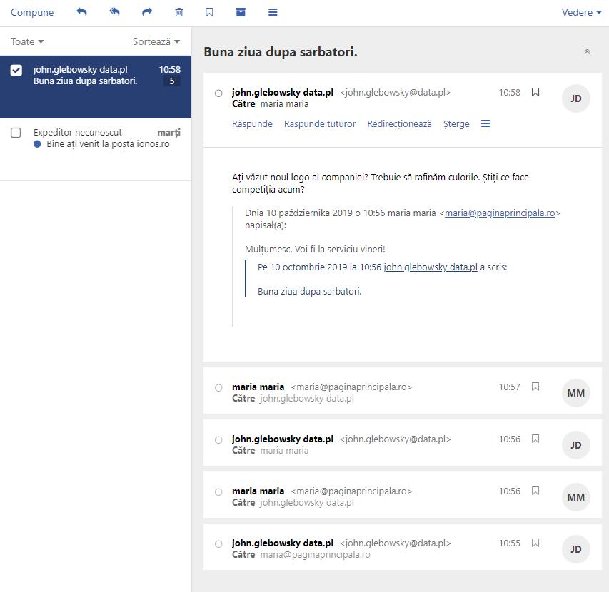 E-mail - vizualizare conversație