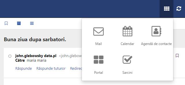 Carnet de adrese - adăugarea unui nou contact - vizualizare meniu