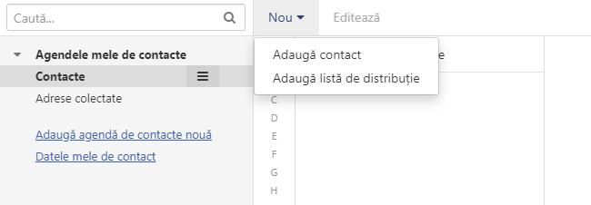 Carnet de adrese - adăugarea unui nou contact