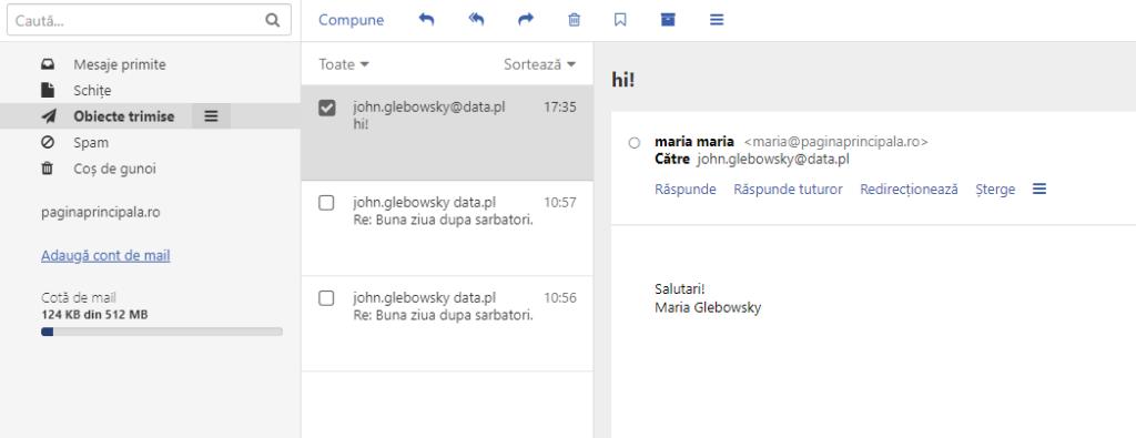 Semnătura prin e-mail - mesaj trimis