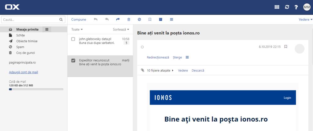 Poșta ionos.ro (așa-numitul webmail)