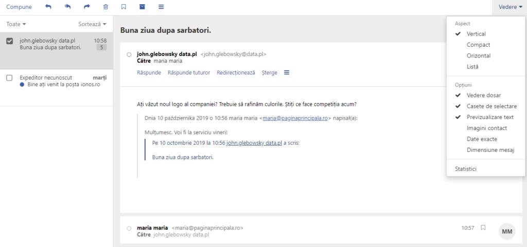 Vizualizare verticală / compactă E-mail - webmail ionos.ro