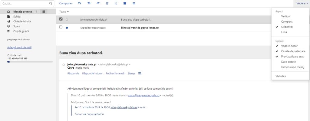 Vizualizare verticală / compactă E-mail - webmail ionos.ro - Vizualizare orizontală