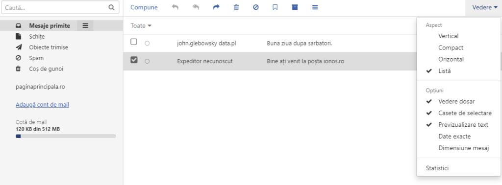 Vizualizare verticală / compactă E-mail - webmail ionos.ro - Vizualizare listă