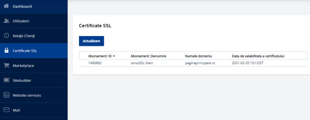 Activarea certificatului SSL plătit în Panoul de client