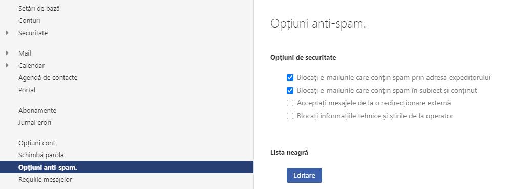 Configurarea protecției anti-spam